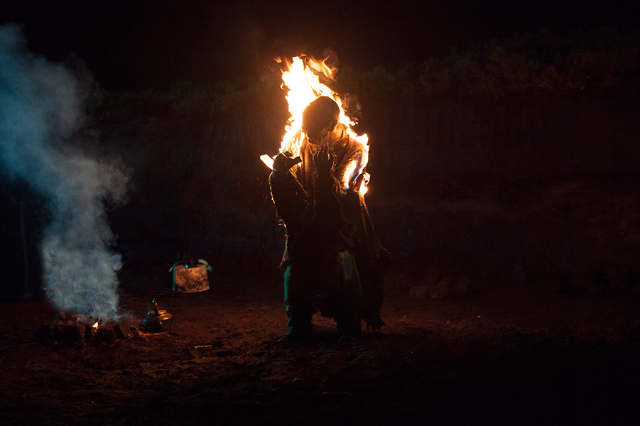 Monster, movie, still, burning, fire, night, bog