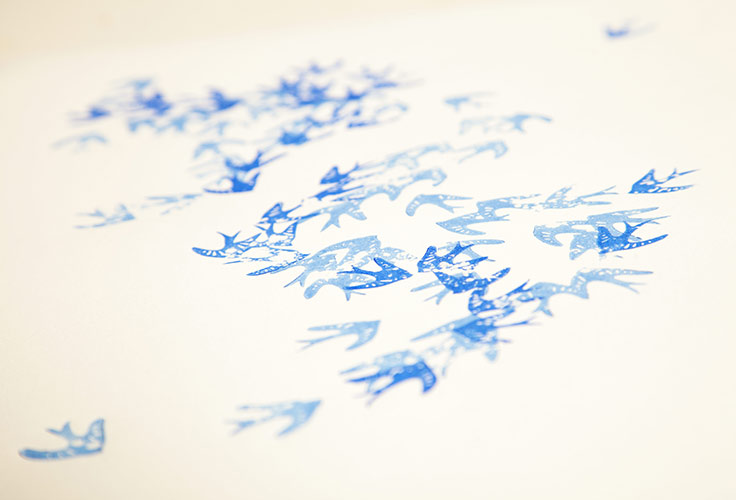 screen print, blue, birds, product shots, photographer, Dublin