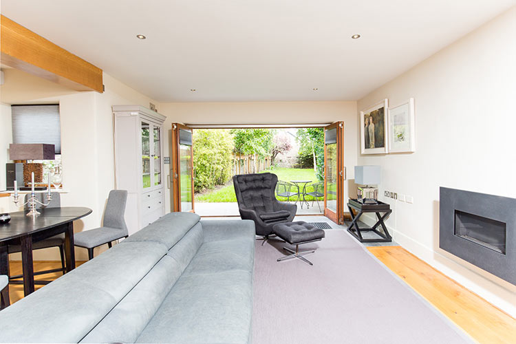 living room, back garden, house interior, exterior, luxury home