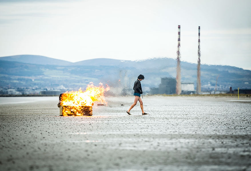 Couch, fire, beach, man, atmosphere, dublin, set still, movie