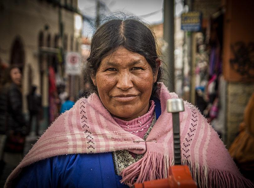 Woman, Bolivia, La Paz, Witches Market, juice maker, travel photography