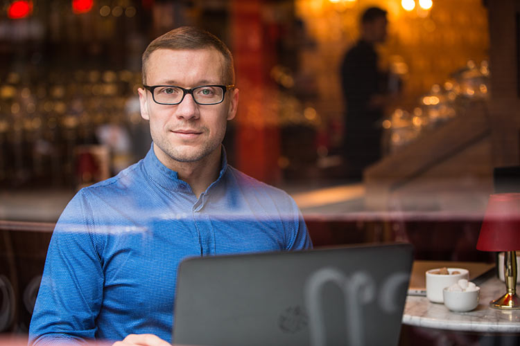 Headshots Dublin, Portrait, window, reflections, coffee shop, business, corporate