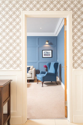 Hall and living room, house photography, Dublin, dark blue
