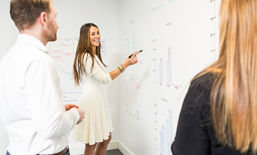 white board, woman, meeting, smiling, work